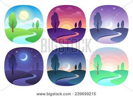 Modern Beautiful Landscape With Gradients. Sunrise, Dawn, Morning, Day, Noon, Sunset, Dusk And Night