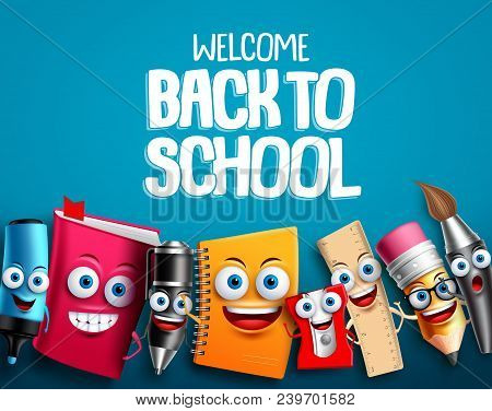 Back To School Characters Set Vector Background Design With Colorful Funny Educational Cartoon Masco