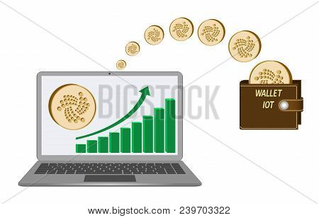 Transfer Iota Coins From Laptop In The Wallet On A White Background,growth Diagram With Coin Of Iota