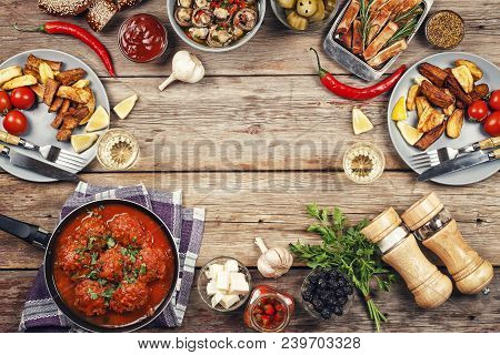 Frame With Various Foods. Grilled Beef With Grilled Vegetables On Wooden Table With Copy Space. Top