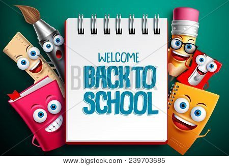 Back To School Vector Characters Background Template With White Empty Space For Educational Text And