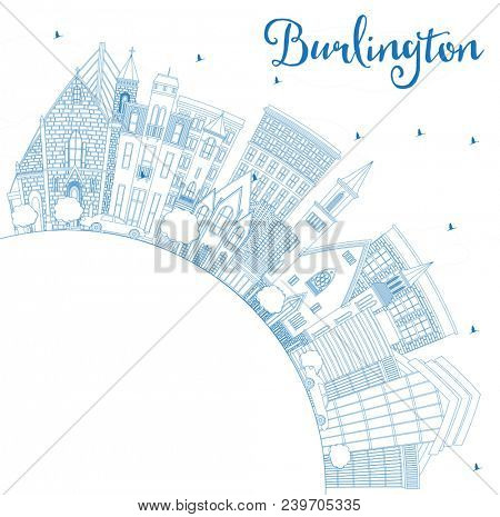 Outline Burlington Iowa City Skyline with Blue Buildings and Copy Space. Business Travel and Tourism Illustration with Historic Architecture. Burlington Cityscape with Landmarks.