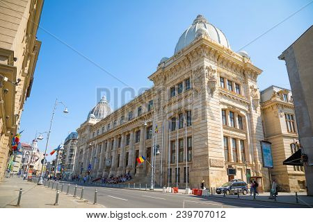 Bucharest, Rumania - 28.04.2018: Building Of National Museum Of Romanian History In Bucharest, Roman