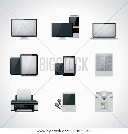 Conjunto de iconos de computadora de Vector blanco y negro