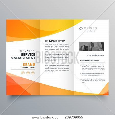 modern orange trifold brochure template in wave style poster