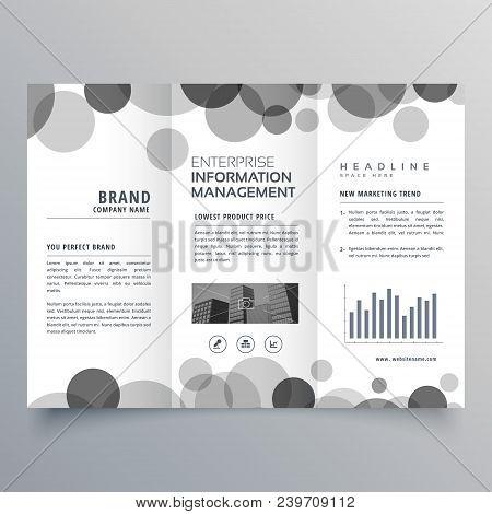 creative black circle trifold brochure design template poster