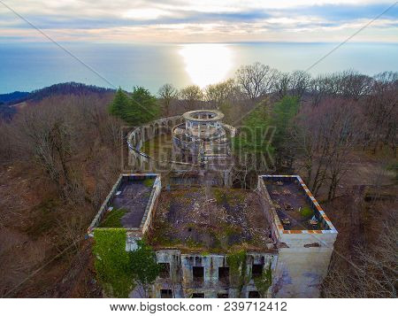 Drone View Of The Abandoned Building Of The Former Restaurant On The Top Of Mount Akhun On The Backg