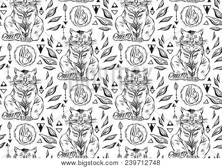 Hand Drawn Vector Seamless Black And White Line Cute Cats Pattern.cat Art Background.cat With Hand,