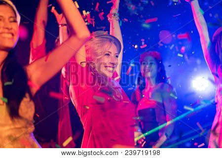 Night Club Dj Party People Enjoy Of Music Dancing Sound With Colorful Light. Club Night Light Dj Par