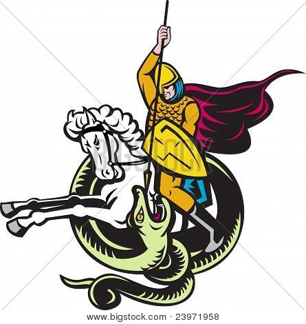 Knight Riding Horse Fighting Dragon Snake