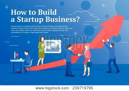 Business Startup Work Moments Flat Banner. Business Process And Project Management. New Ideas, Searc