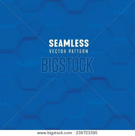 Seamless Hexagon With Bevel Pattern, Blue Geometric Background, 3d Polygon Volumetric Vector Backdro