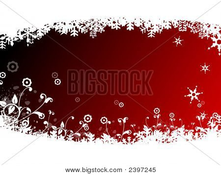 Abstract Snow Flake With Floral Design