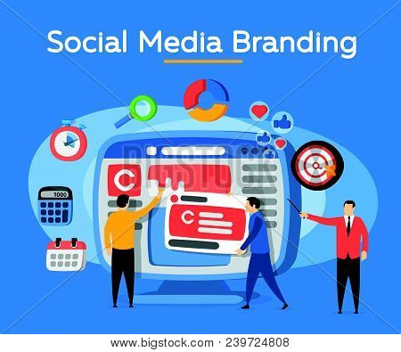 Promotion Of The Brand In Social Network. People In The Social Media Industry. Analytics For Social