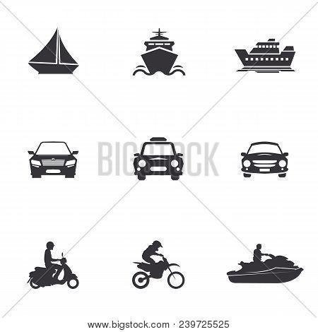 Character Set Of Logos Of Transportation, Merchant Ships, Car, Scooter, Jet Ski, Water Bike, Motorcy
