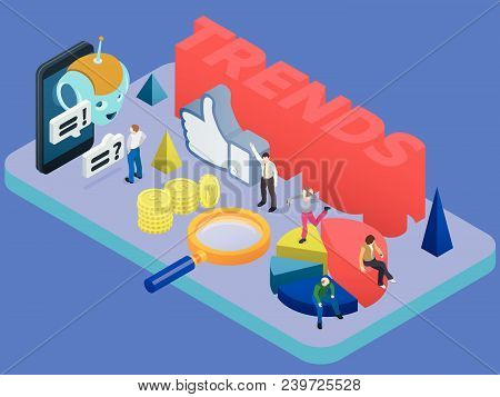 Trends In Social Networks. Marketing Strategy And Analytics. Flat 3d Isometric Banner. Chatbot, Vide