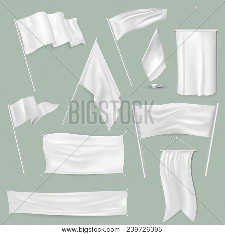 Flag Vector White Flagstone Blank On Flagpole And Flagging Symbol Illustration Set Of Promotion Flag