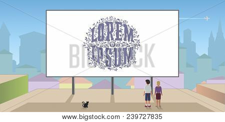 Billboard On The Roof, Against A Background Of The City. Blank To Insert Text And Images .people Loo