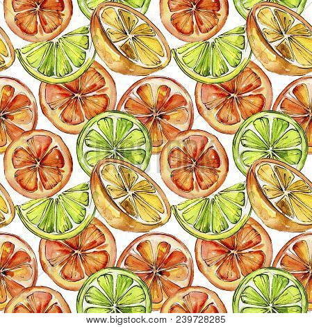 Exotic Citruses Healthy Food In A Watercolor Style Pattern. Full Name Of The Fruit: Citruses. Aquare