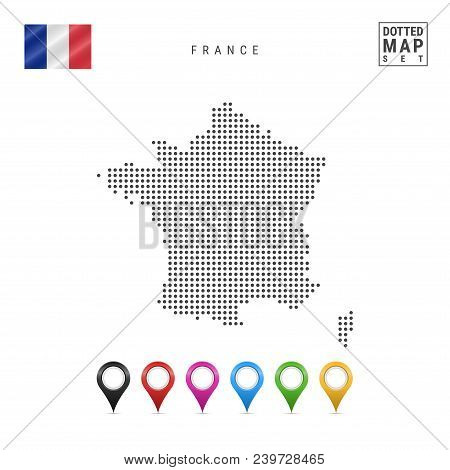 Dotted Map Of France. Simple Silhouette Of France. The National Flag Of France. Set Of Multicolored