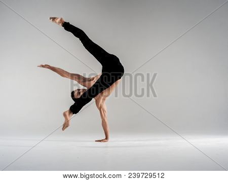 Modern Ballet Dancer Performing Art Jump With Empty Copy Space Background, Izolated Space