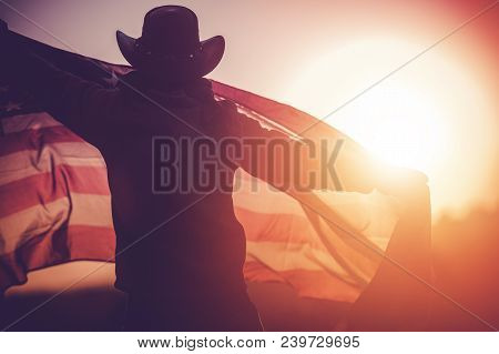 Independence Day Celebration. Western Wear Men In Cowboy Hat With United States Of American Flag Cel