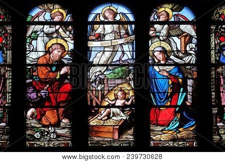 PARIS, FRANCE - JANUARY 08: Nativity Scene, stained glass window in Saint-Eustache church in Paris, France on January 08, 2018.