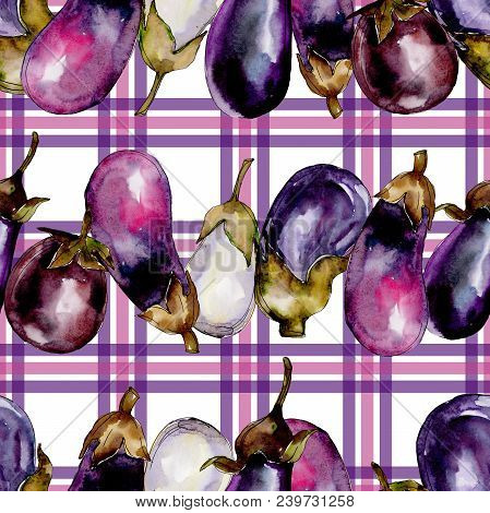 Eggplant Healthy Food In A Watercolor Style Pattern. Full Name Of The Vegetables: Eggplant. Aquarell