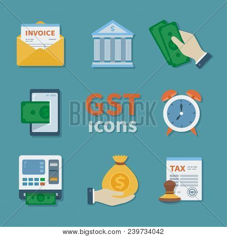 Gst Icons. Set Of Finance Flat Color Icons. Tax Payment. Goods And Service Tax. Envelope, Invoice, A