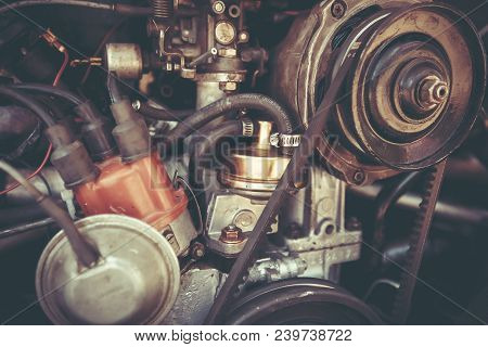Petah Tiqwa, Israel - May 14, 2016: Rear Engine Of A Volkswagen Beetle In Petah Tiqwa, Israel.