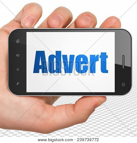 Advertising Concept: Hand Holding Smartphone With Blue Text Advert On Display, 3d Rendering