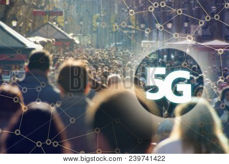 Digital Composite Of 5g With Crowd Of Anonymous People Walking On The Rambla Of Barcelona On The Bac