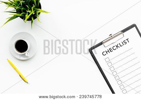 Blank Checklist With Space For Ticks On Pad On Office Desk. Checklist For Office Worker, Manager, Bu