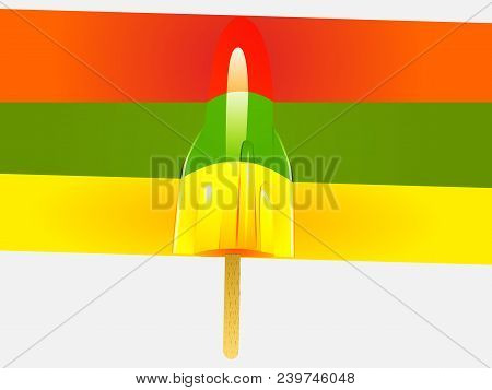 Three Colours Ice Lolly Lollypop Over Rainbow Panel On White Background