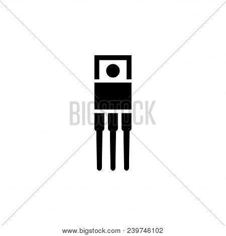 Resistor, Ceramic Electrolytic Capacitors, Fuse, Microcontroller, Transistor. Flat Vector Icon. Simp