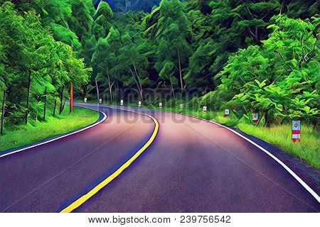 Turn On Empty Forest Road. Summer Travel Landscape Vibrant Digital Illustration. Highway And Roadsid