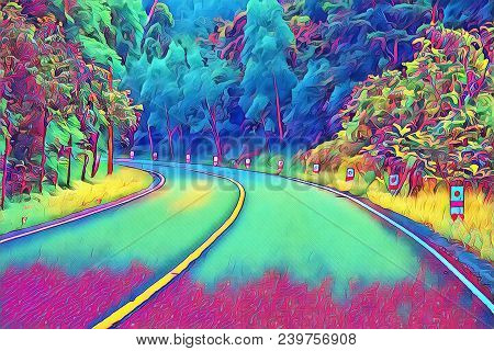 Turn On Empty Forest Road. Summer Travel Landscape Neon Digital Illustration. Highway With Roadside.