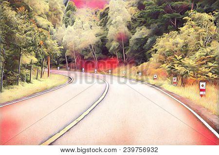Turn On Empty Forest Road. Summer Travel Landscape Blurry Digital Illustration. Highway And Roadside