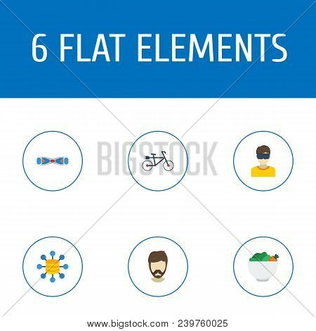 Set Of Modern Icons Flat Style Symbols With Vegan, Big Data, Electric Bike And Other Icons For Your