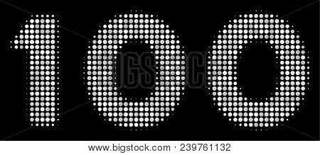 100 Text Halftone Vector Pictogram. Illustration Style Is Dotted Iconic 100 Text Icon Symbol On A Bl