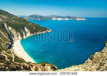 View Of Beautiful Myrtos Bay And Idyllic Beach On Kefalonia Island, Greece. Mediterranean Sea.