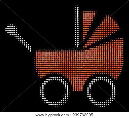 Baby Carriage Halftone Vector Icon. Illustration Style Is Dotted Iconic Baby Carriage Icon Symbol On