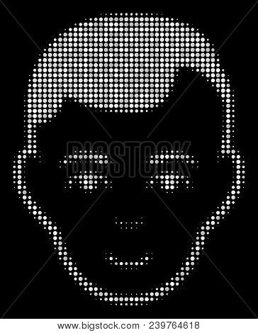 Man Head Halftone Vector Icon. Illustration Style Is Dotted Iconic Man Head Icon Symbol On A Black B