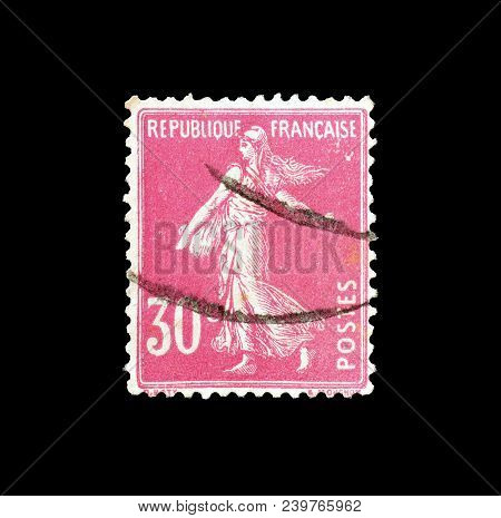 France - Circa 1925 : Cancelled Postage Stamp Printed By France, That Shows Sower.