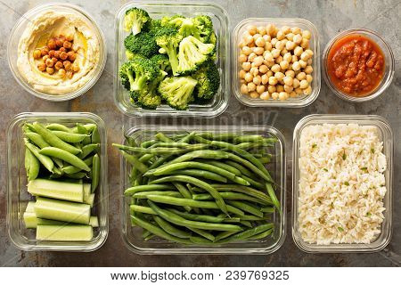 Vegan Meal Prep With Cooked Rice, Chickpeas And Vegetables
