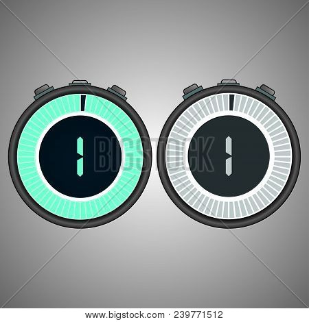Electronic Digital Stopwatch. Timer 1 Seconds Isolated On Gray Background.stopwatch Icon Set. Timer