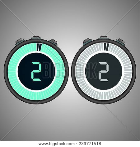 Electronic Digital Stopwatch. Timer 2 Seconds Isolated On Gray Background.stopwatch Icon Set. Timer