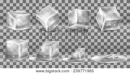 Vector Realistic Set Of Cold Solid Ice Cubes, Melting Process Of Icy Blocks With Drops And Water Pud