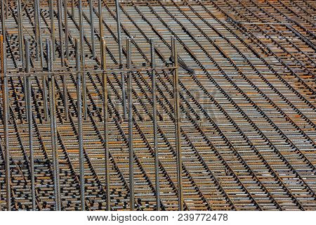 Fragment Of The Frame From The Reinforcement, For Pouring The Formwork Of The Future Building.