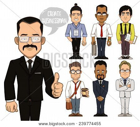 Set Of Characters Of Businessman. You Can Use Ready Made Characters. Or You Can Combine Parts Of The